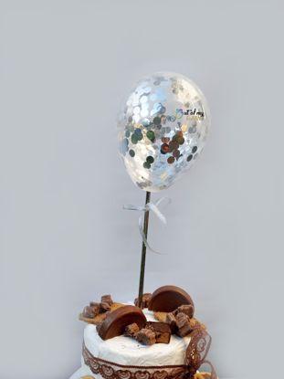 Picture of Silver Confetti Balloon Cake Topper