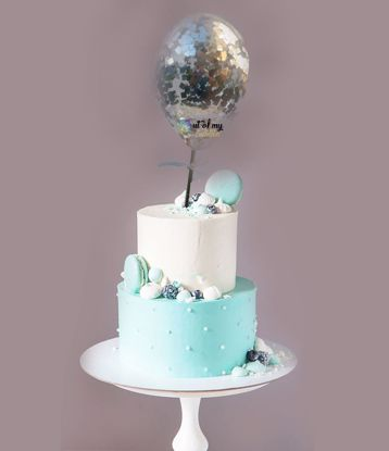 Picture of Silver Confetti Balloon Cake Topper Birthday