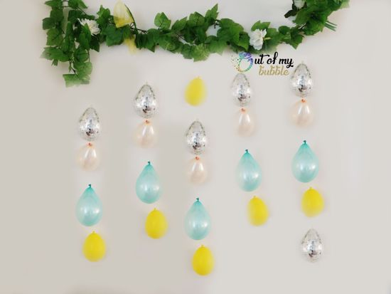 Picture of Yellow Balloon Banner Raindrop Garland Mint