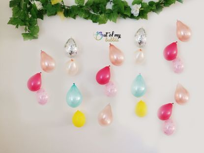 Picture of Rose Gold Balloon Banner Raindrop Garland Fuchsia