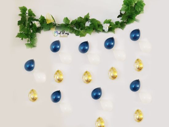Picture of Navy Balloons Banner Raindrop Garland White Gold