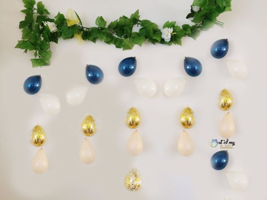 Picture of Navy Blush Balloons Banner Raindrop Garland White Gold