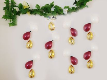 Picture of Burgundy Balloons Banner Raindrop Garland White Gold