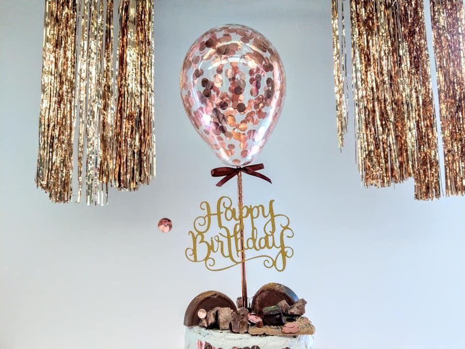 Amazing Outofmybubble Rose Gold Balloon Confetti Cake Topper Happy Birthday Personalised Birthday Cards Arneslily Jamesorg