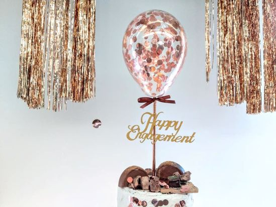 Picture of Rose Gold Balloon Confetti Cake Topper Happy Engagement
