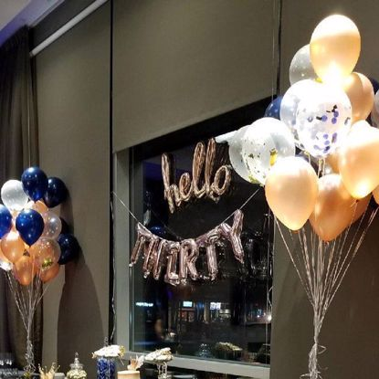 Picture of Rose Gold Balloons Gold Metallic Confetti