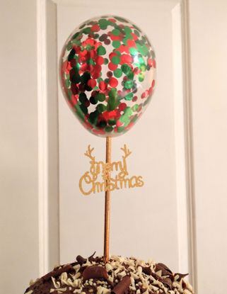 Picture of Merry Christmas Balloon Confetti Cake Topper
