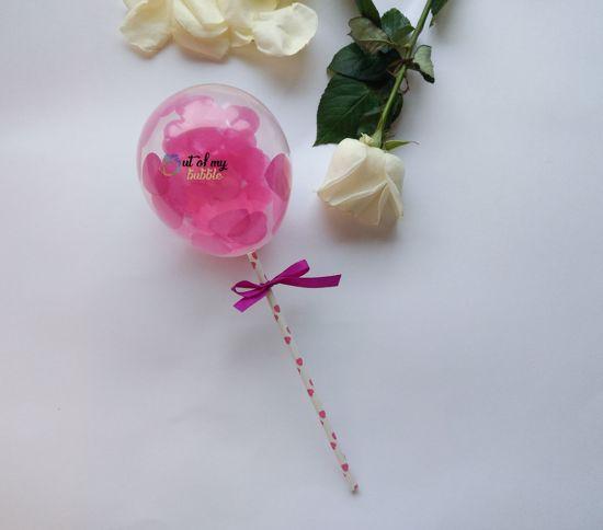 Picture of Balloon Confetti Cake Topper Fuchsia Hearts