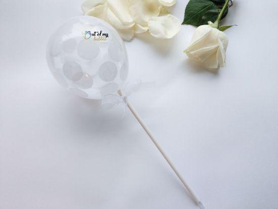 Picture of Balloon Confetti Cake Topper White