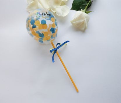 Picture of Balloon Confetti Cake Topper Blue Yellow