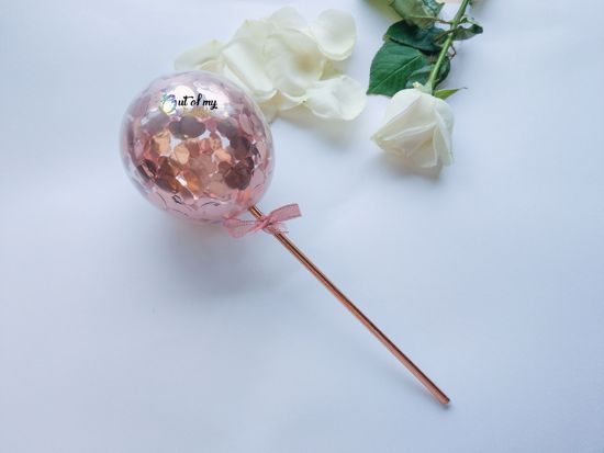 Picture of Cake topper Balloon Confetti Rose Gold Hearts
