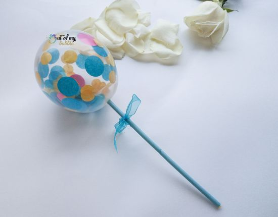 Picture of Cake topper Balloon Confetti Turquoise Hot Pink Yellow