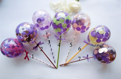 Picture of Cake Topper  Balloon Confetti Designs Purple Lavender Green Peach