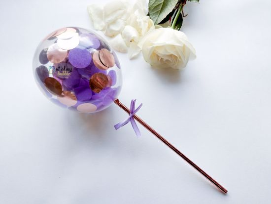 Picture of Cake topper Balloon Confetti Royal Purple Rose Gold