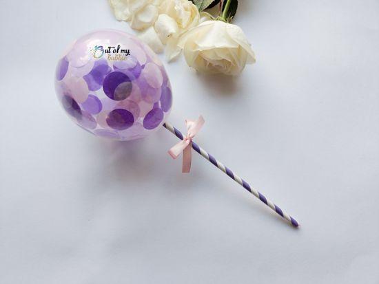 Picture of Cake topper Balloon Confetti Royal Purple Lavender