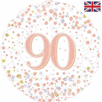 Picture of 18 INCH 90TH BIRTHDAY WHITE & ROSE GOLD FIZZ FOIL BALLOON