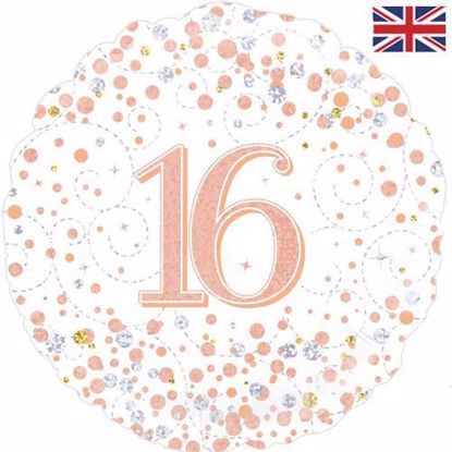Picture of 18 INCH 16TH BIRTHDAY WHITE & ROSE GOLD FIZZ FOIL BALLOON