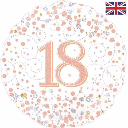 Picture of 18 INCH 18TH BIRTHDAY WHITE & ROSE GOLD FIZZ FOIL BALLOON