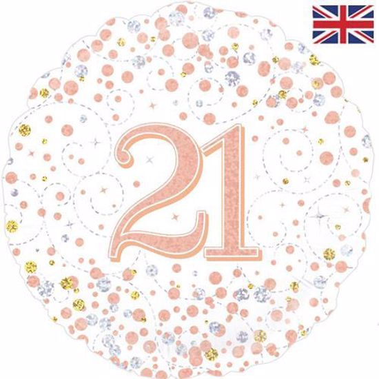 Picture of 18 INCH 21ST BIRTHDAY WHITE & ROSE GOLD FIZZ FOIL BALLOON