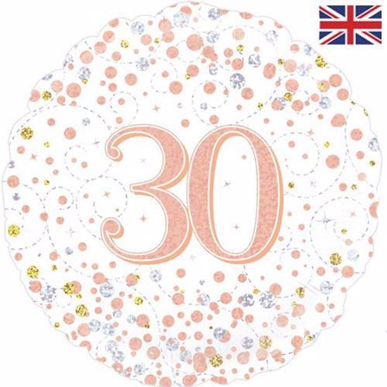 Picture of 18 INCH 30TH BIRTHDAY WHITE & ROSE GOLD FIZZ FOIL BALLOON