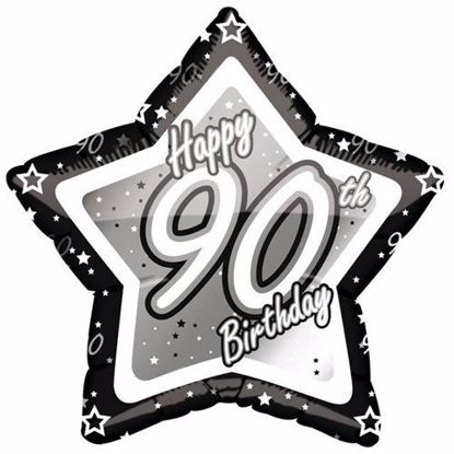 Picture of 18 INCH AGE 90TH BLACK & SILVER STAR FOIL BALLOON