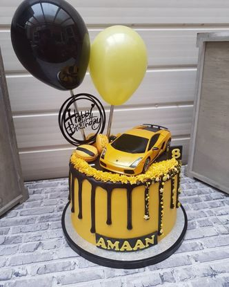 Picture of Balloon Cake Topper Yellow Black