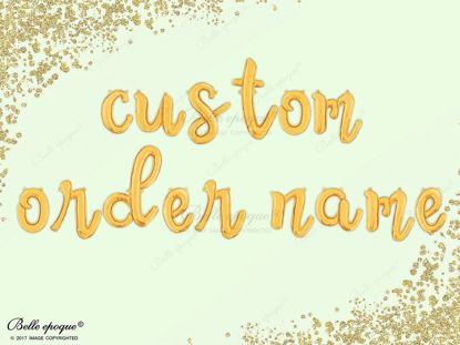 Picture of Cursive Gold Foil Balloon Letters Alphabet Name Custom Script