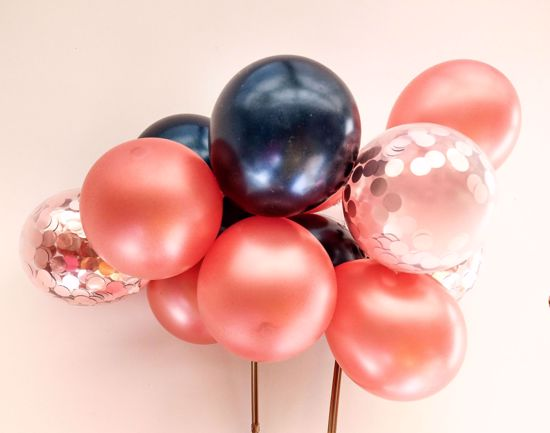 Picture of Balloon Cake Topper Mini Garland Rose Gold Navy