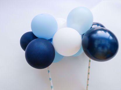 Picture of Balloon Cake Topper Mini Garland White Light Blue Navy
