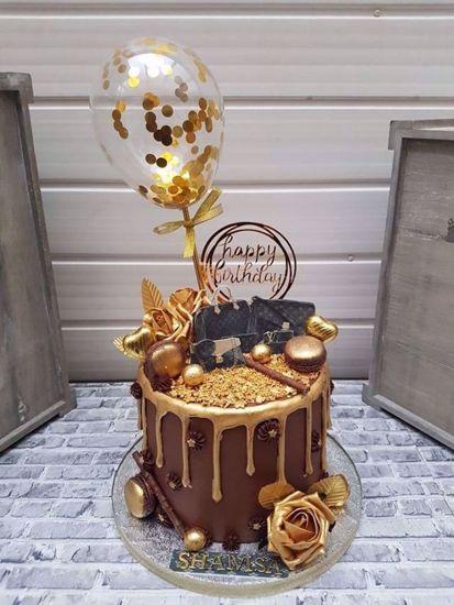 Picture of Balloon Cake Topper Confetti Gold
