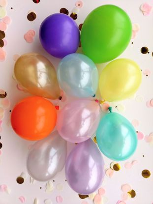 "Picture of 5"" PASTEL LATEX MINI BALLOONS PURPLE GOLD"