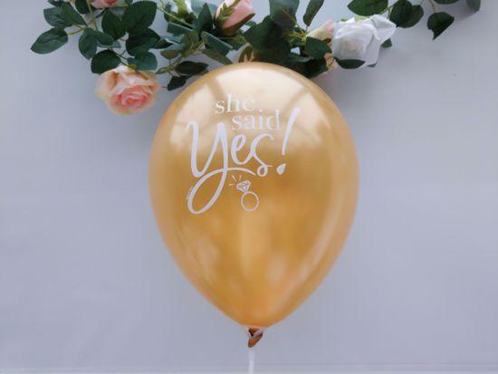 Picture of Gold Balloons She Said Yes
