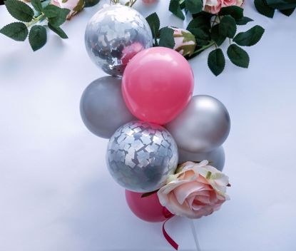 Picture of Balloon Cake Topper Mini Garland Pink Silver Grey