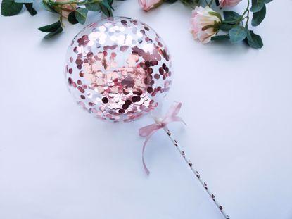 Picture of Balloon Cake Topper Bubble Rose Gold Silver Confetti