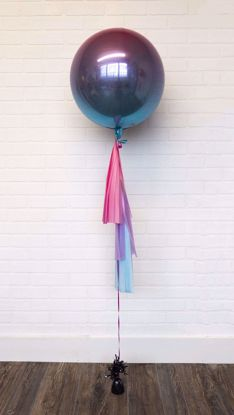 "Picture of 16"" Ombre Pink Purple Blue Balloon with tassels"