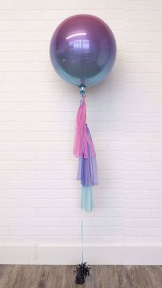 "Picture of 16"" Ombre Pink Blue Balloon with tassels"