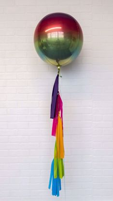 "Picture of 16"" Ombre Rainbow Balloon with tassels - fiesta cinco de mayo"