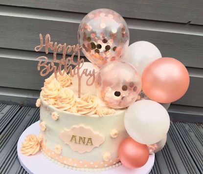 Picture of Balloon Cake Topper Mini Garland White Rose Gold Confetti