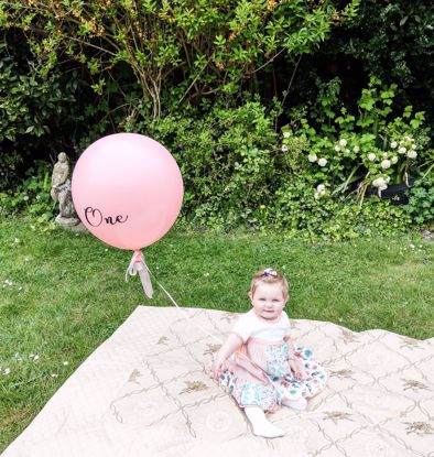 Picture of One Balloon 1st Birthday Smash Cake Peach