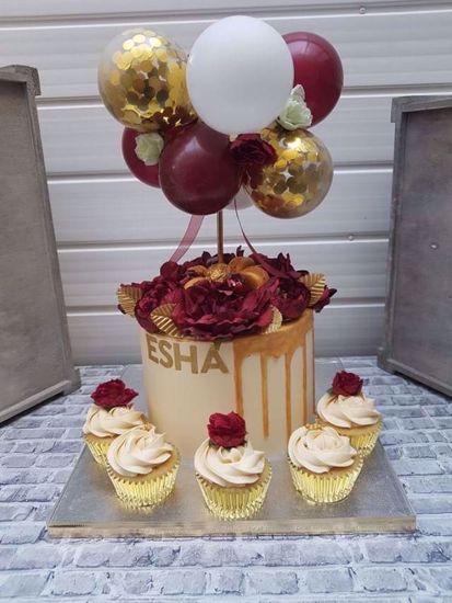 Outofmybubble Balloon Cake Topper Mini Garland Burgundy Gold