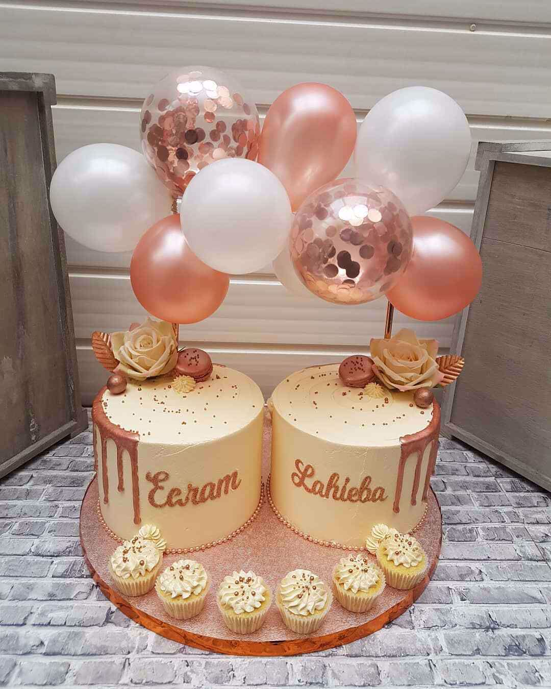 Awe Inspiring Outofmybubble Balloon Cake Topper Mini Garland White Rose Gold Personalised Birthday Cards Paralily Jamesorg