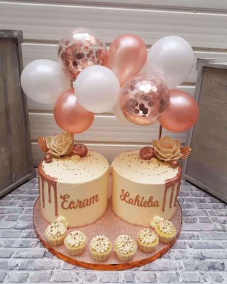 Picture of Balloon Cake Topper Mini Garland White Rose Gold Confetti Birthday