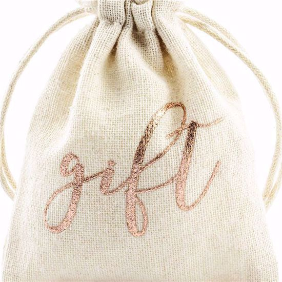 Picture of Rose Gold Cotton Gift Pouches
