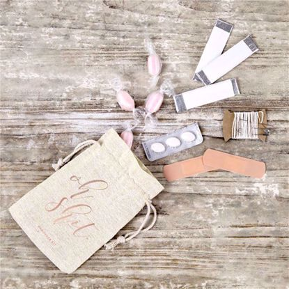 Picture of Rose Gold Cotton Gift Pouches Hangover Kits Oh Shit