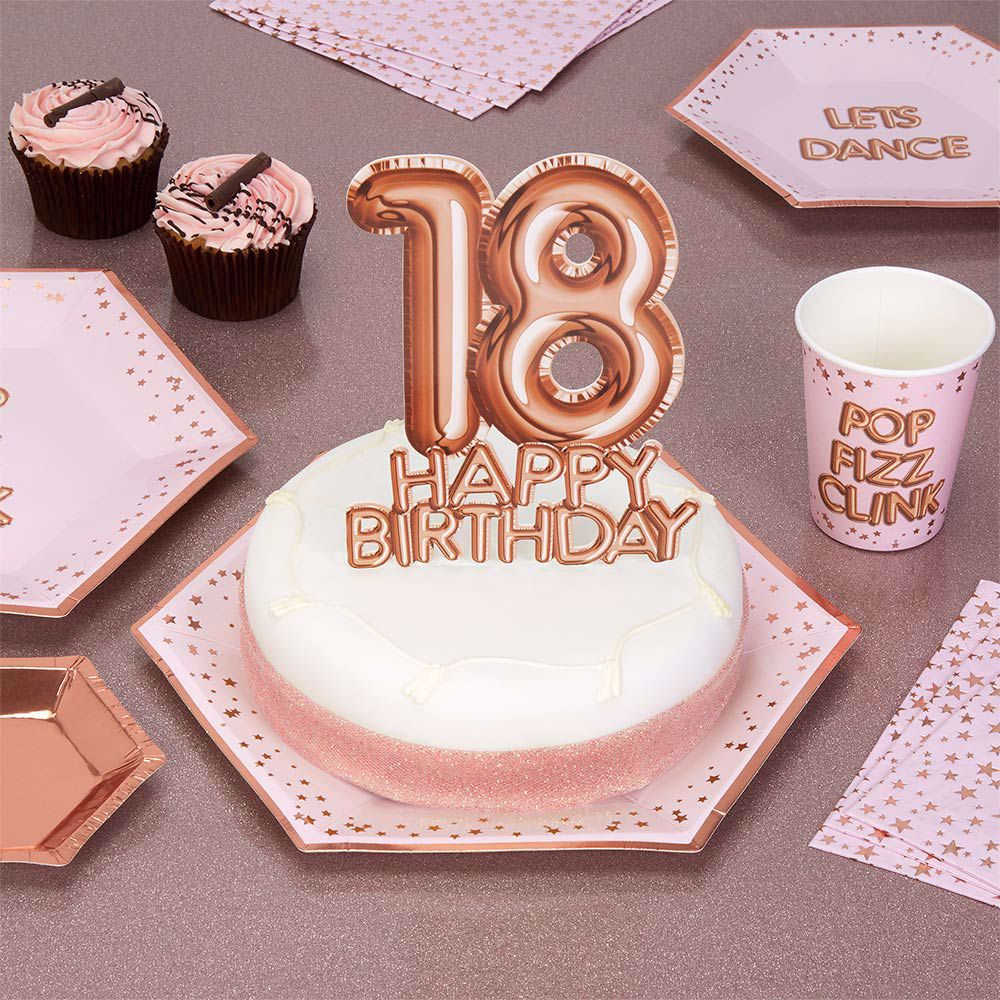 Peachy Outofmybubble Happy Birthday Rose Gold Cake Topper Card 18 Funny Birthday Cards Online Fluifree Goldxyz