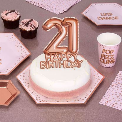 Picture of Happy Birthday Rose Gold Cake Topper Card 21