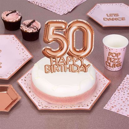 Picture of Happy Birthday Rose Gold Cake Topper Card 50