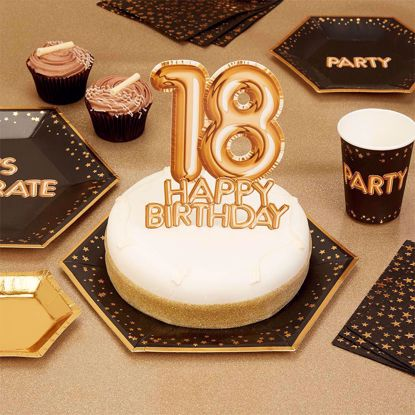 Picture of Happy Birthday  Gold Cake Topper Card 18