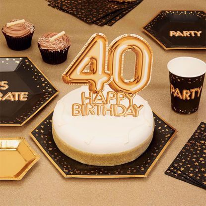 Picture of Happy Birthday  Gold Cake Topper Card 40