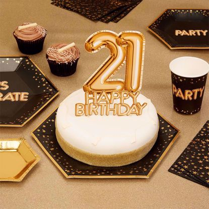 Picture of Happy Birthday Gold Cake Topper Card 21